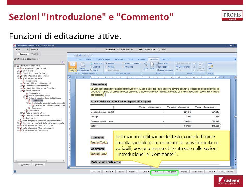 Sezioni Introduzione e Commento