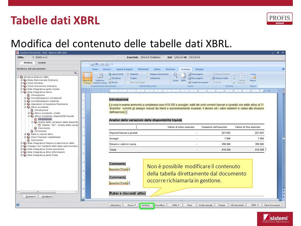 Tabelle dati XBRL Modifica del contenuto delle tabelle dati XBRL.