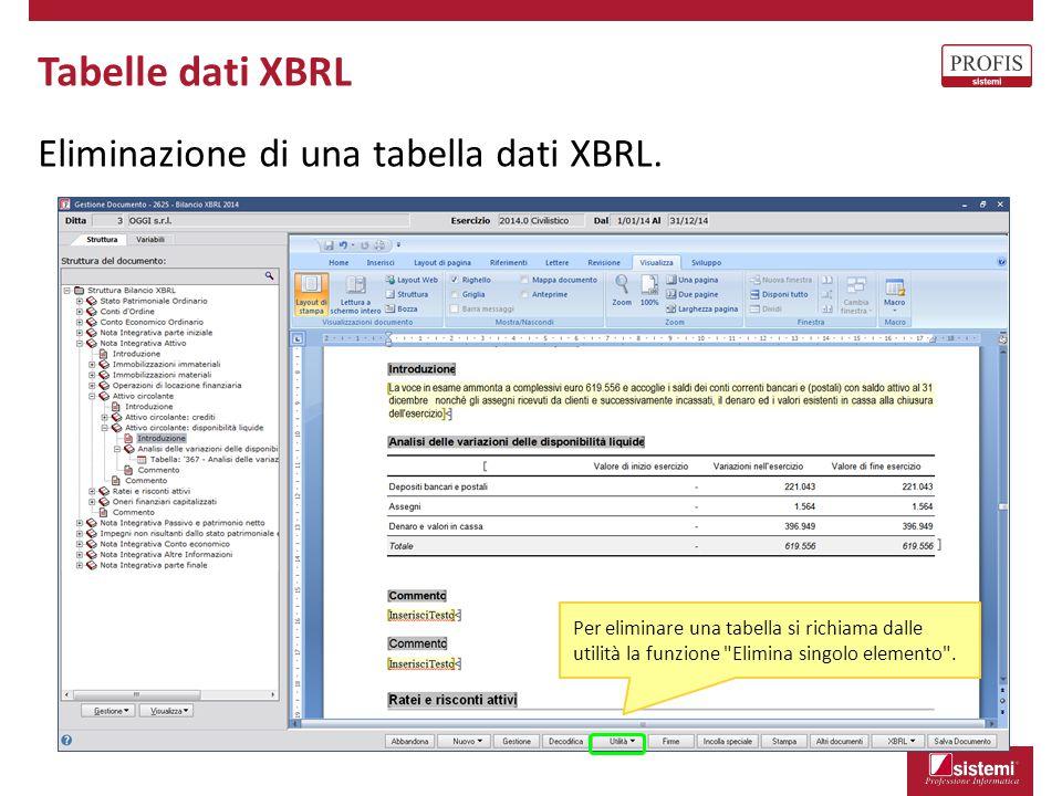 Tabelle dati XBRL Eliminazione di una tabella dati XBRL.