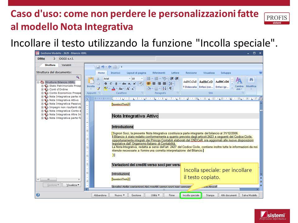 Incollare il testo utilizzando la funzione Incolla speciale .