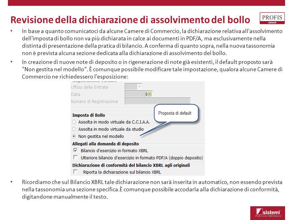 Revisione della dichiarazione di assolvimento del bollo