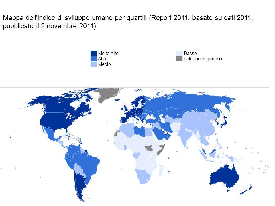 Mappa dell indice di sviluppo umano per quartili (Report 2011, basato su dati 2011, pubblicato il 2 novembre 2011)