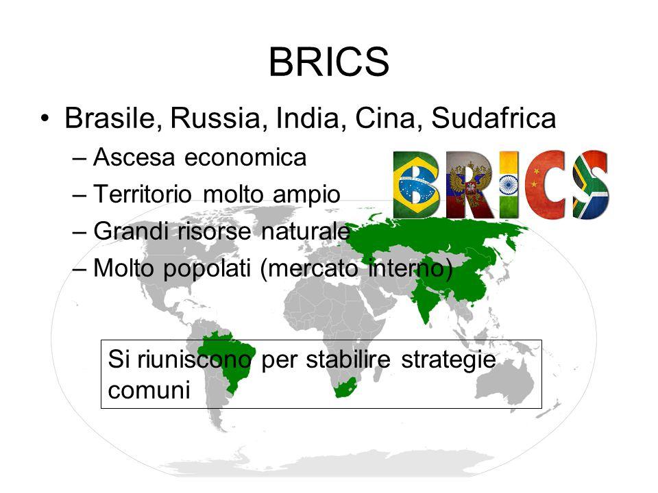 BRICS Brasile, Russia, India, Cina, Sudafrica Ascesa economica