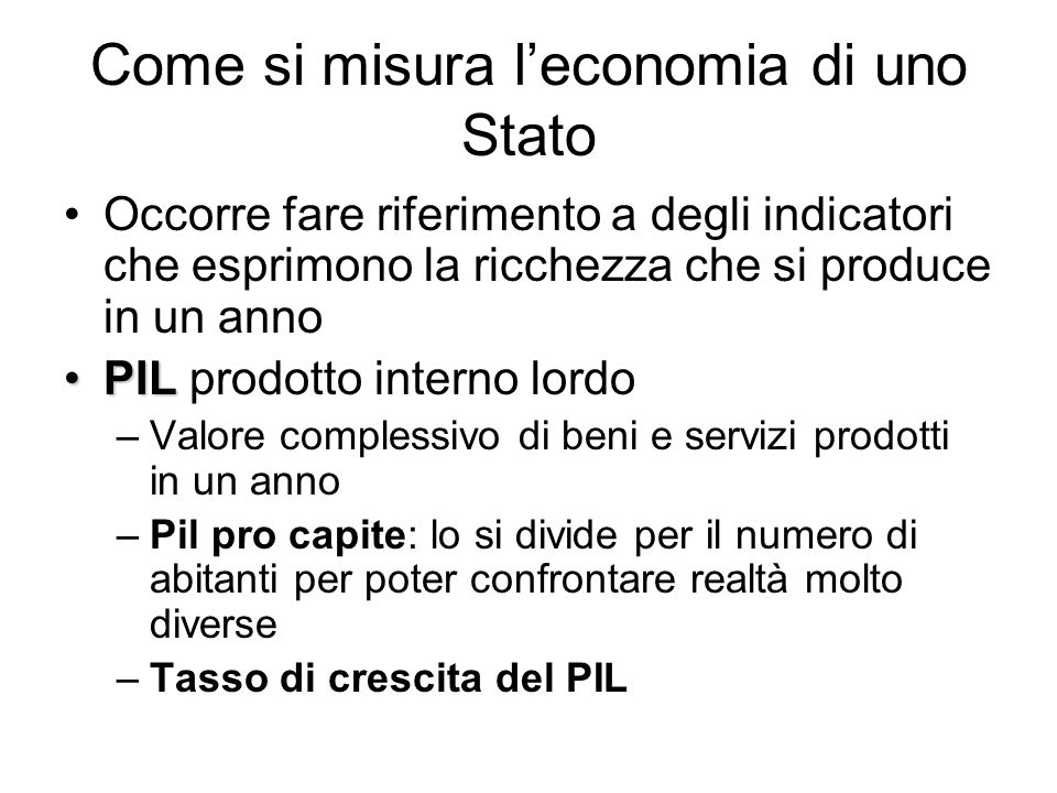 Come si misura l'economia di uno Stato
