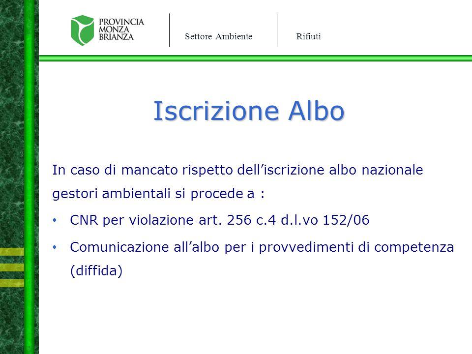 Iscrizione Albo In caso di mancato rispetto dell'iscrizione albo nazionale gestori ambientali si procede a :