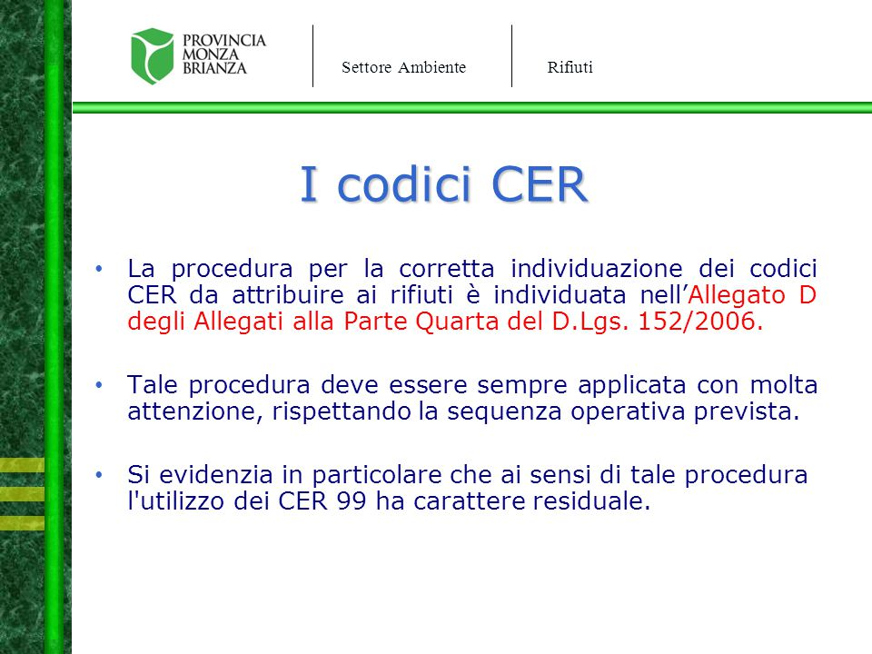 I codici CER