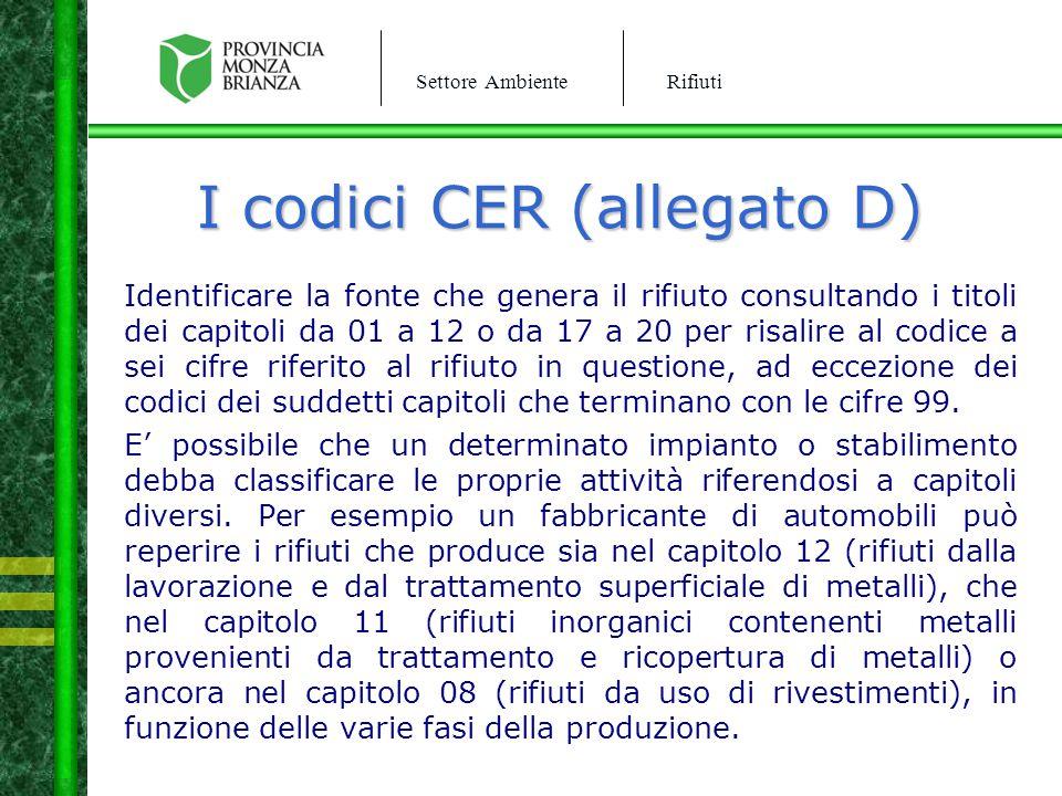 I codici CER (allegato D)