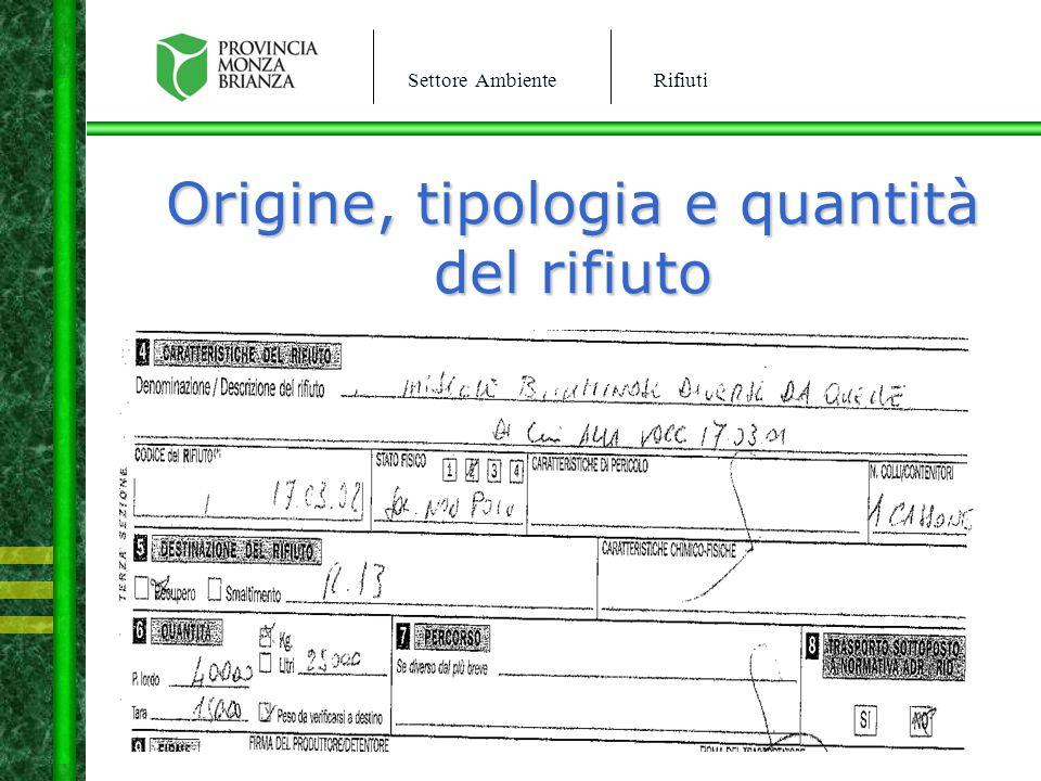 Origine, tipologia e quantità del rifiuto