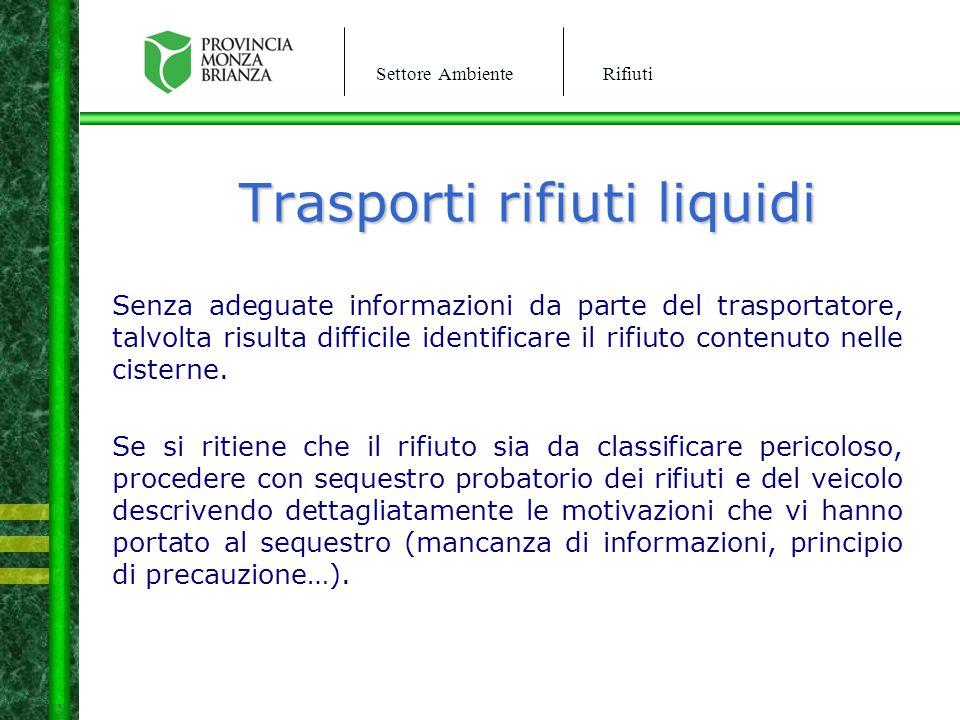 Trasporti rifiuti liquidi