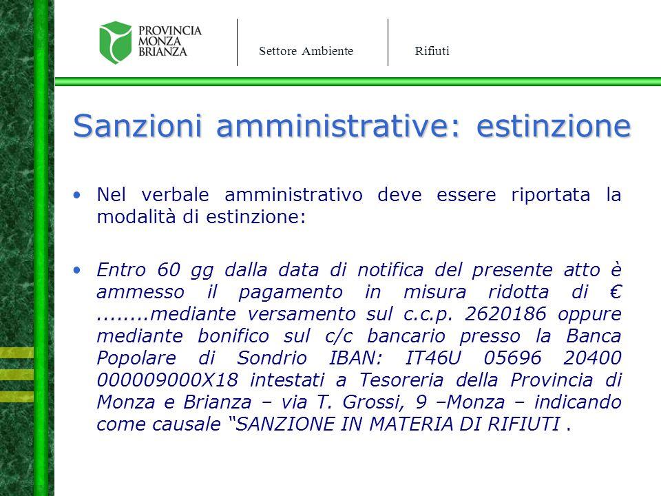Sanzioni amministrative: estinzione