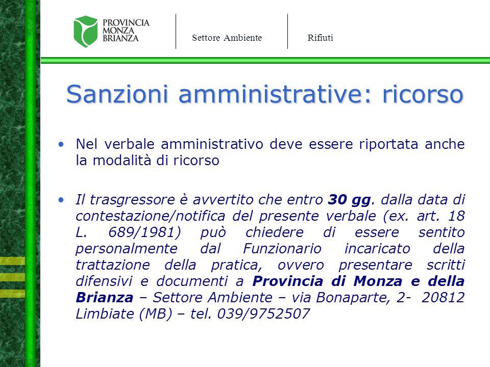 Sanzioni amministrative: ricorso