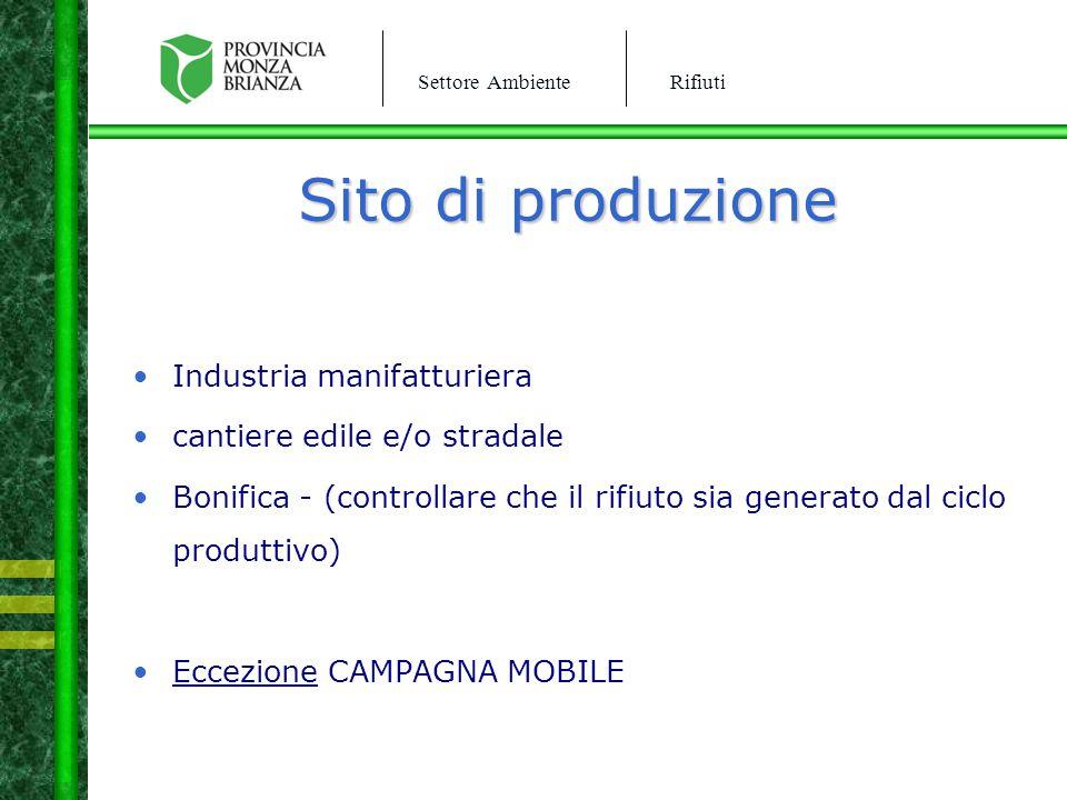 Sito di produzione Industria manifatturiera
