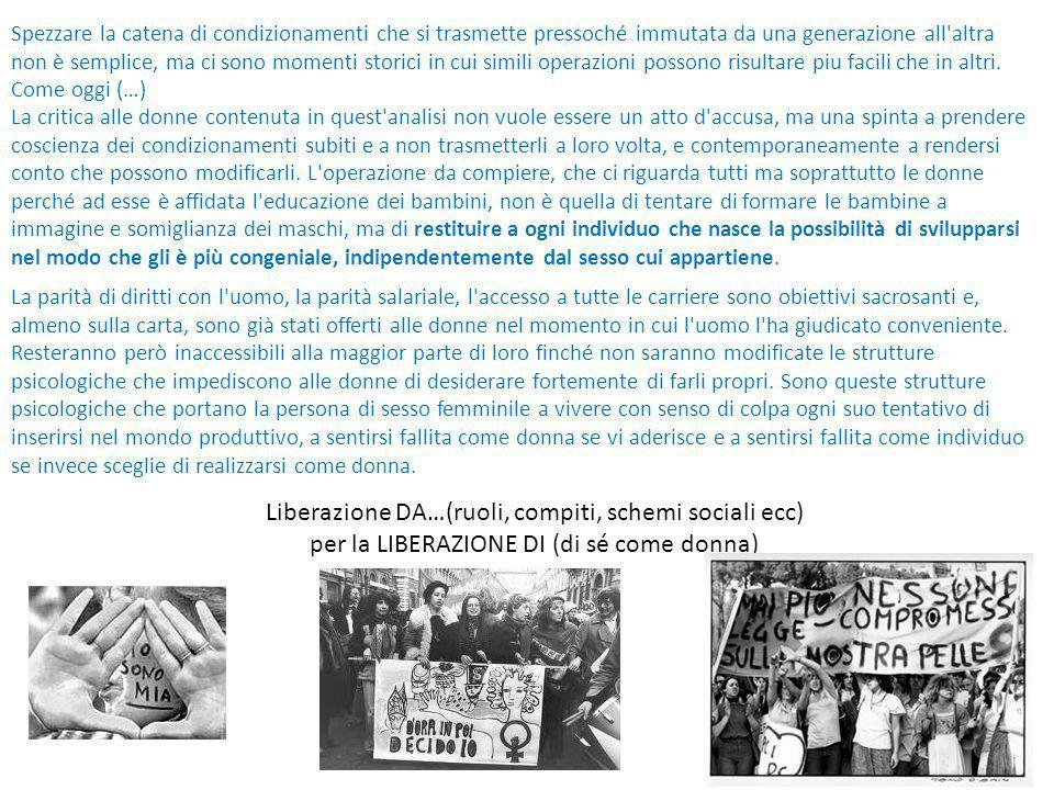 Liberazione DA…(ruoli, compiti, schemi sociali ecc)