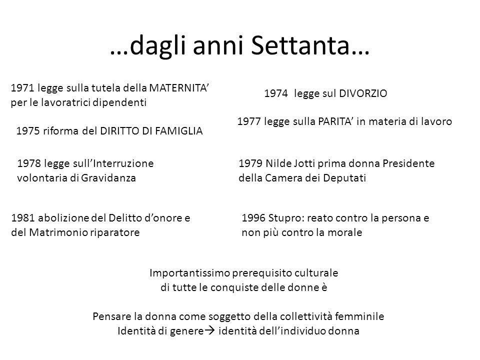 …dagli anni Settanta… 1971 legge sulla tutela della MATERNITA' per le lavoratrici dipendenti. 1974 legge sul DIVORZIO.