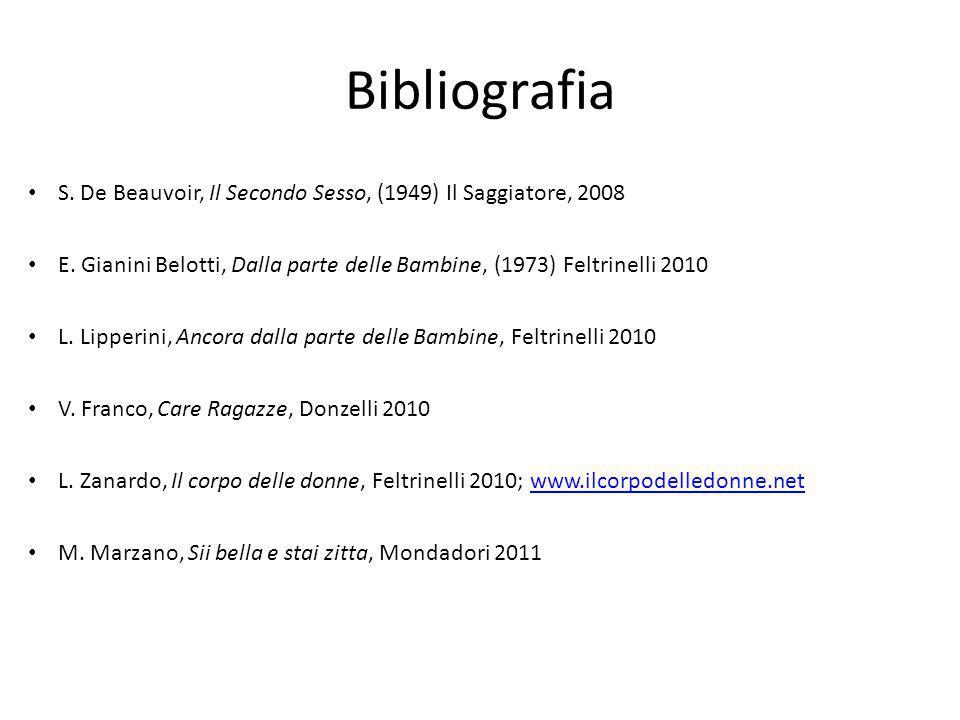 Bibliografia S. De Beauvoir, Il Secondo Sesso, (1949) Il Saggiatore, 2008. E. Gianini Belotti, Dalla parte delle Bambine, (1973) Feltrinelli 2010.