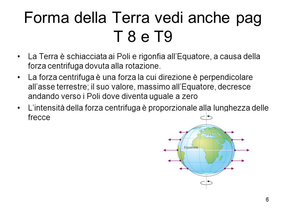 Forma della Terra vedi anche pag T 8 e T9