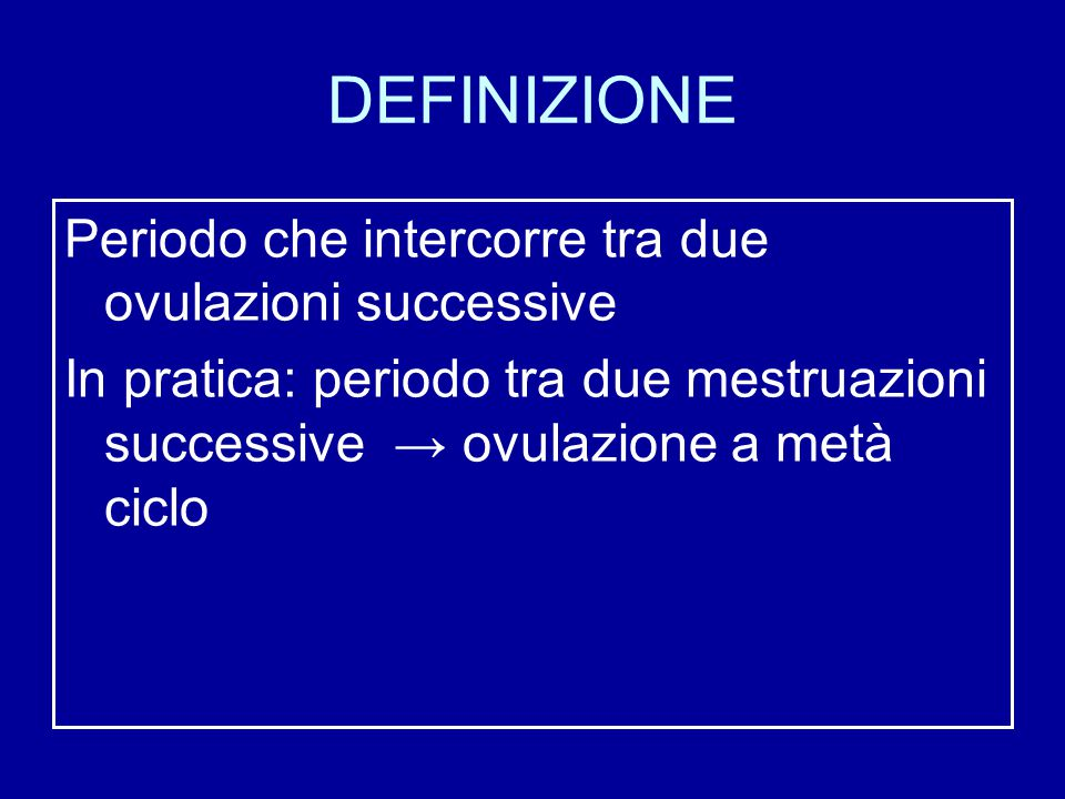 DEFINIZIONE Periodo che intercorre tra due ovulazioni successive