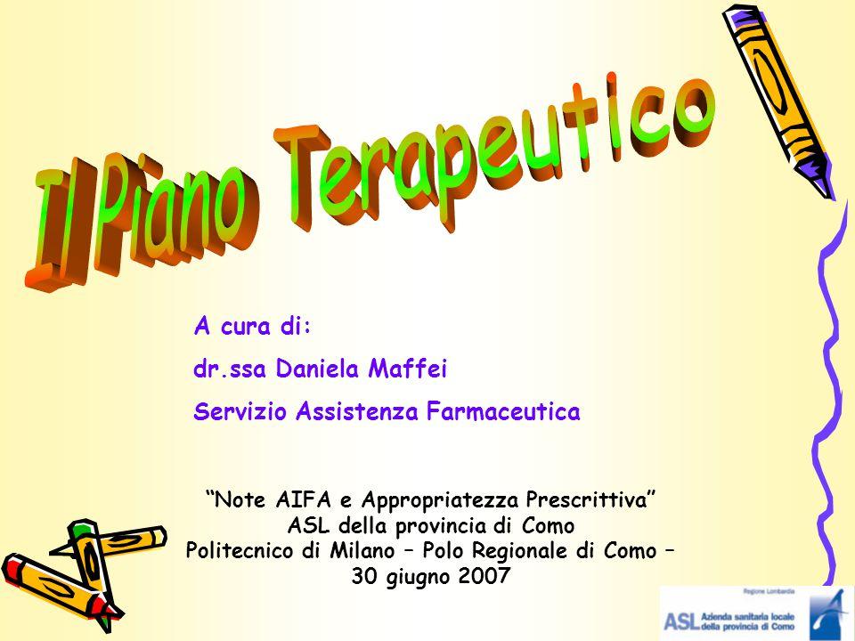 Il Piano Terapeutico A cura di: dr.ssa Daniela Maffei