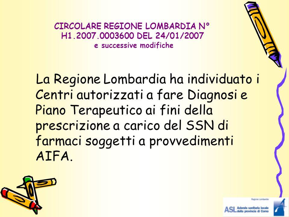 CIRCOLARE REGIONE LOMBARDIA N° H1. 2007