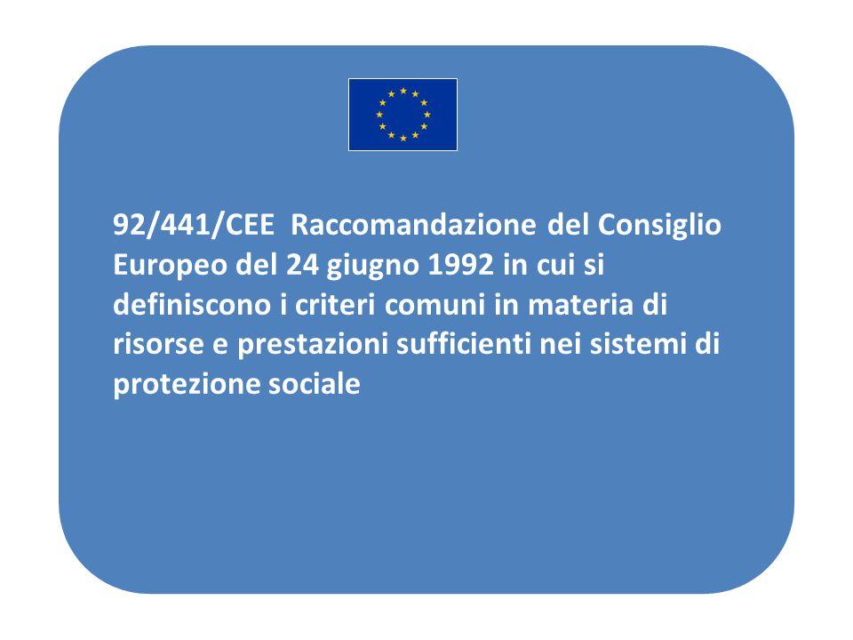 92/441/CEE Raccomandazione del Consiglio Europeo del 24 giugno 1992 in cui si definiscono i criteri comuni in materia di risorse e prestazioni sufficienti nei sistemi di protezione sociale