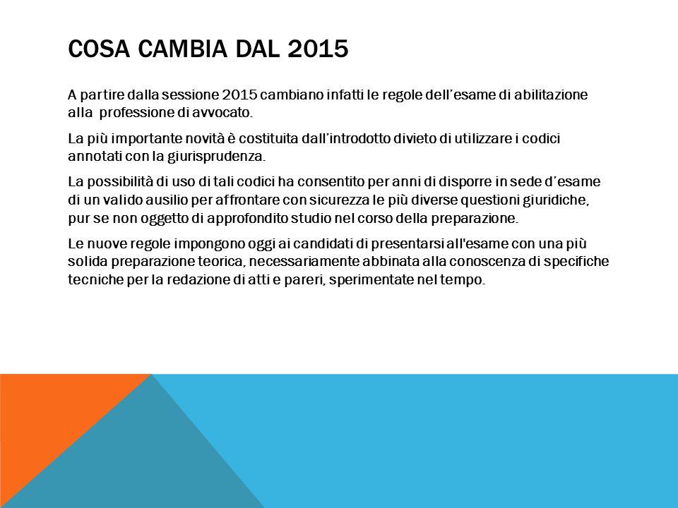 COSA CAMBIA DAL 2015