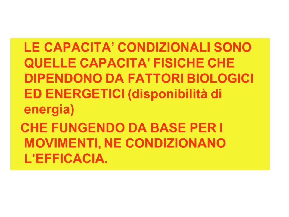 LE CAPACITA' CONDIZIONALI SONO QUELLE CAPACITA' FISICHE CHE DIPENDONO DA FATTORI BIOLOGICI ED ENERGETICI (disponibilità di energia)