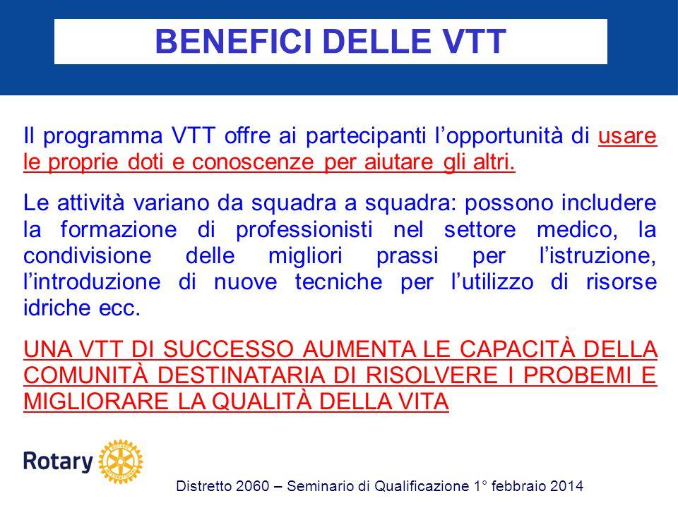 BENEFICI DELLE VTT Il programma VTT offre ai partecipanti l'opportunità di usare le proprie doti e conoscenze per aiutare gli altri.