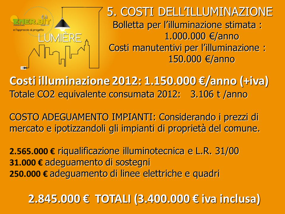 2.845.000 € TOTALI (3.400.000 € iva inclusa)