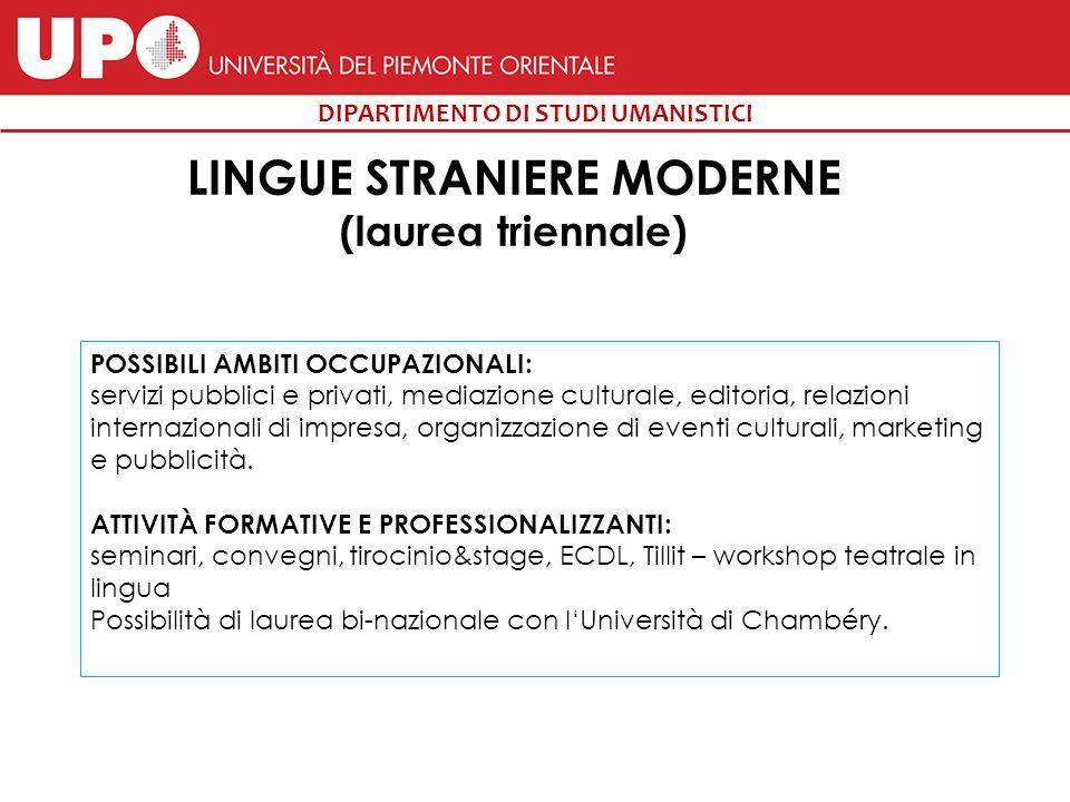 LINGUE STRANIERE MODERNE (laurea triennale)