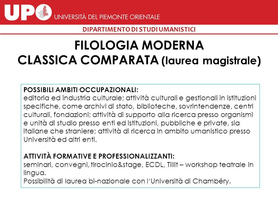 FILOLOGIA MODERNA CLASSICA COMPARATA (laurea magistrale)