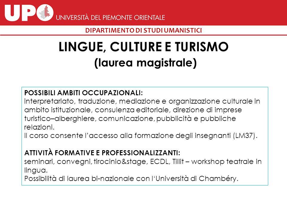 LINGUE, CULTURE E TURISMO (laurea magistrale)