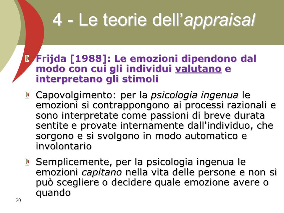 4 - Le teorie dell'appraisal