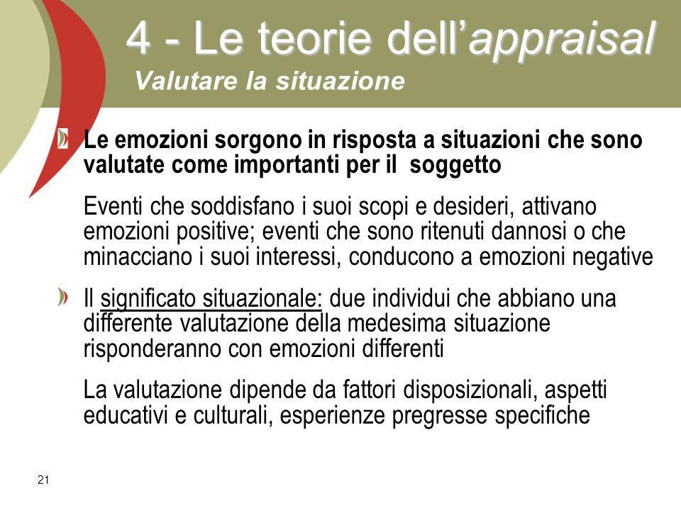 4 - Le teorie dell'appraisal Valutare la situazione