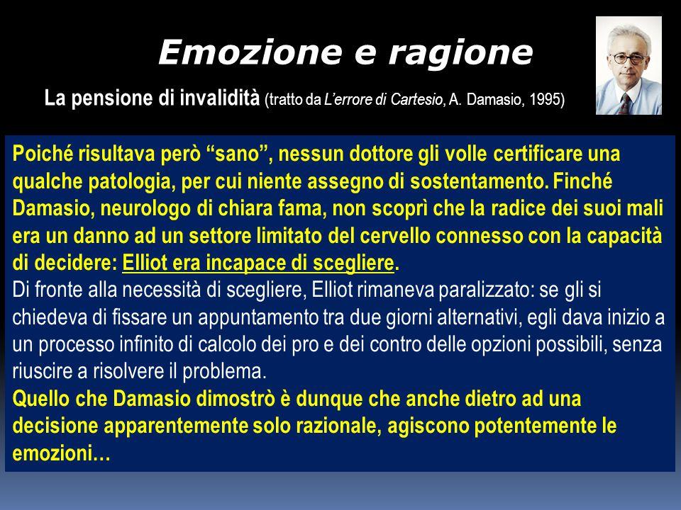 Emozione e ragione La pensione di invalidità (tratto da L'errore di Cartesio, A. Damasio, 1995)