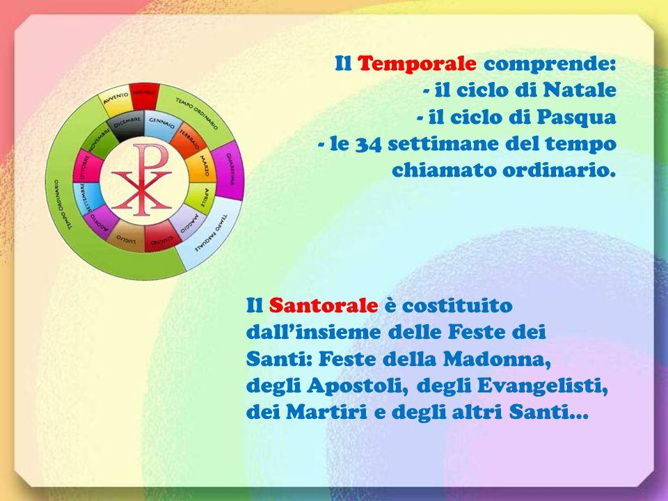 Il Temporale comprende: - il ciclo di Natale - il ciclo di Pasqua