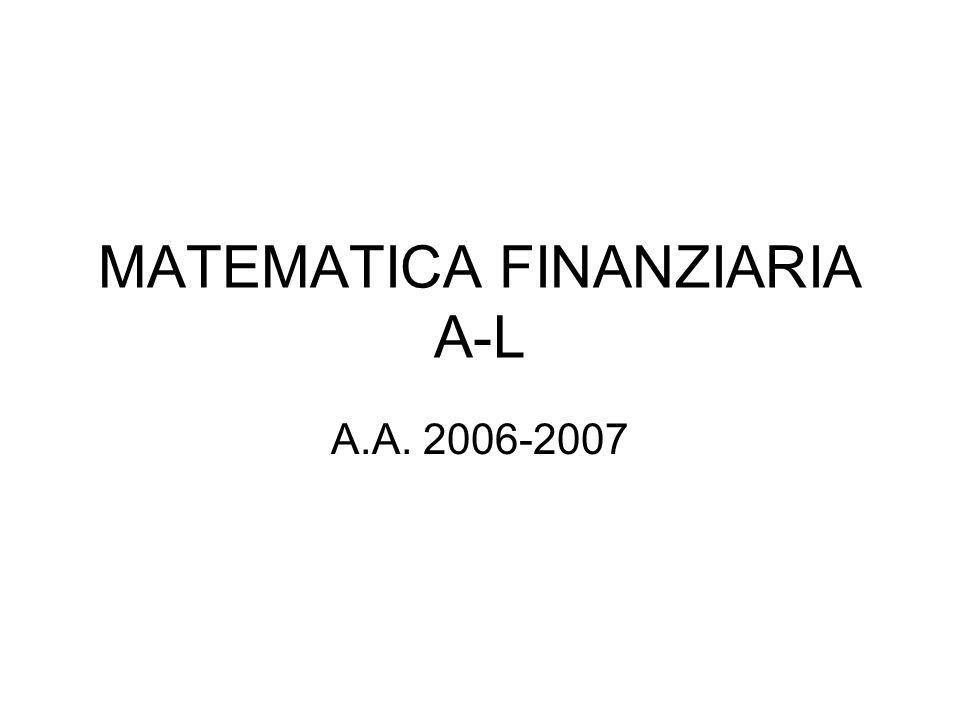 MATEMATICA FINANZIARIA A-L