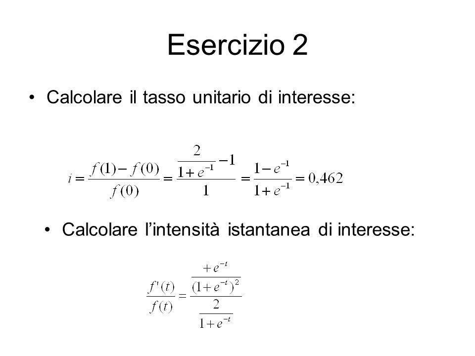 Esercizio 2 Calcolare il tasso unitario di interesse: