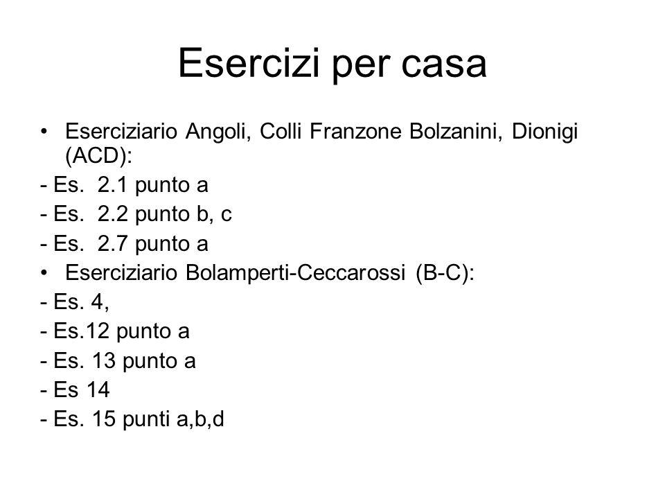 Esercizi per casa Eserciziario Angoli, Colli Franzone Bolzanini, Dionigi (ACD): - Es. 2.1 punto a.