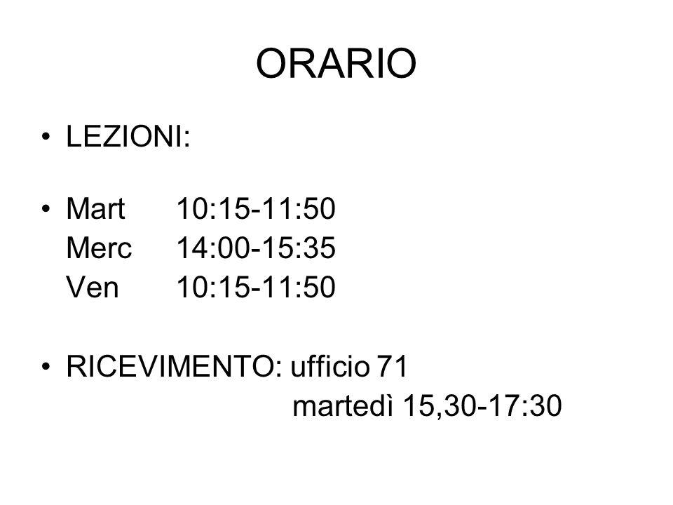 ORARIO LEZIONI: Mart 10:15-11:50 Merc 14:00-15:35 Ven 10:15-11:50