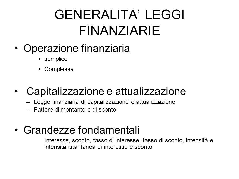 GENERALITA' LEGGI FINANZIARIE
