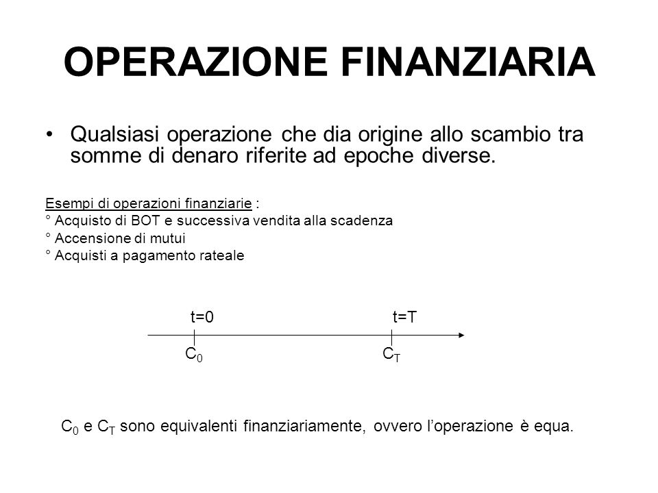 OPERAZIONE FINANZIARIA