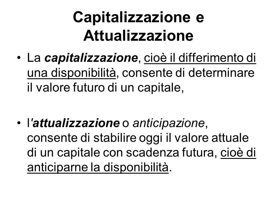 Capitalizzazione e Attualizzazione