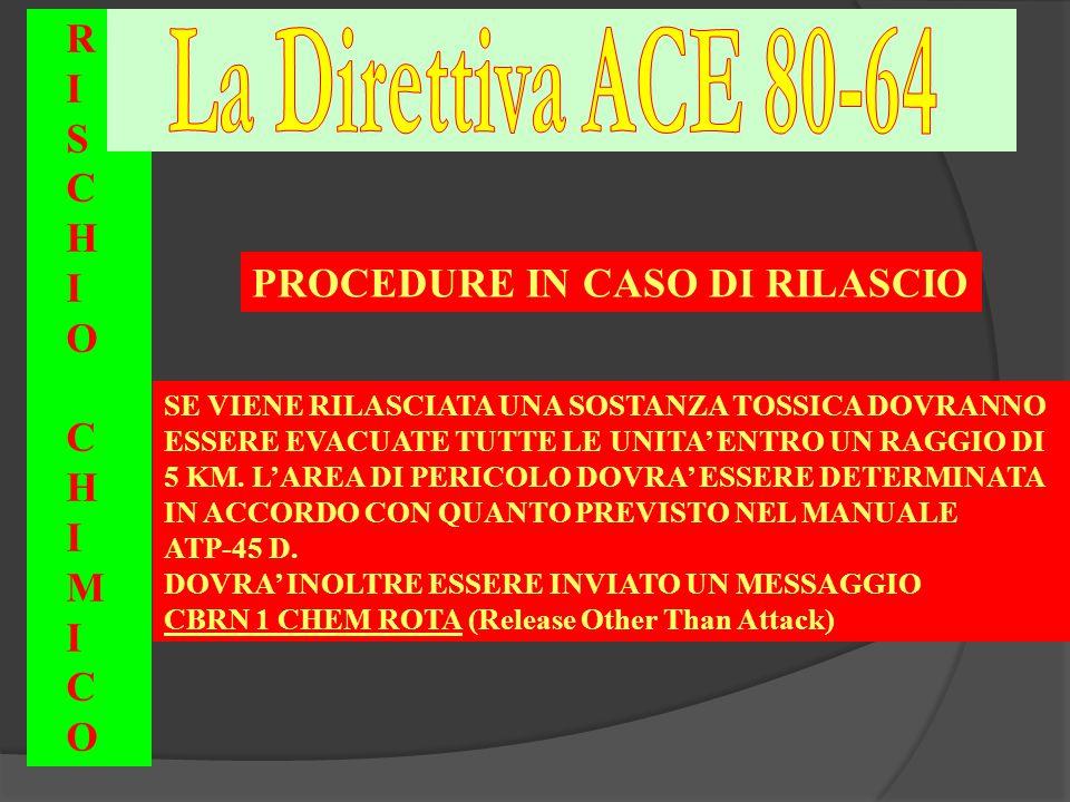 La Direttiva ACE 80-64 R I S C H O PROCEDURE IN CASO DI RILASCIO M