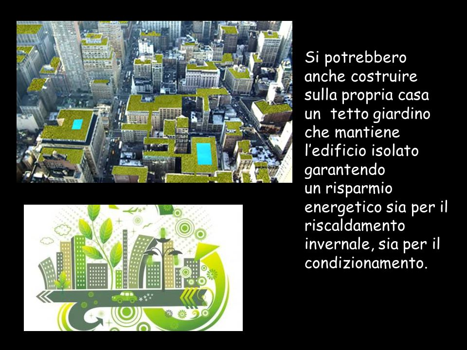Si potrebbero anche costruire sulla propria casa un tetto giardino che mantiene l'edificio isolato garantendo un risparmio energetico sia per il riscaldamento invernale, sia per il condizionamento.