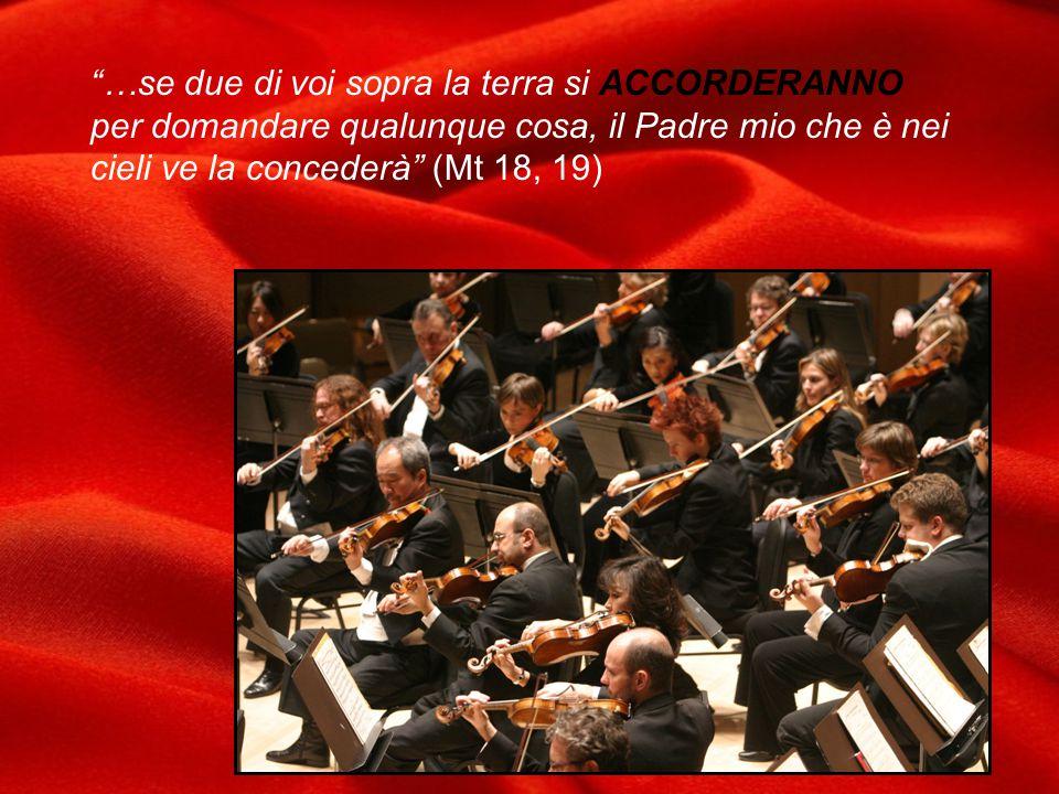 …se due di voi sopra la terra si ACCORDERANNO per domandare qualunque cosa, il Padre mio che è nei cieli ve la concederà (Mt 18, 19)