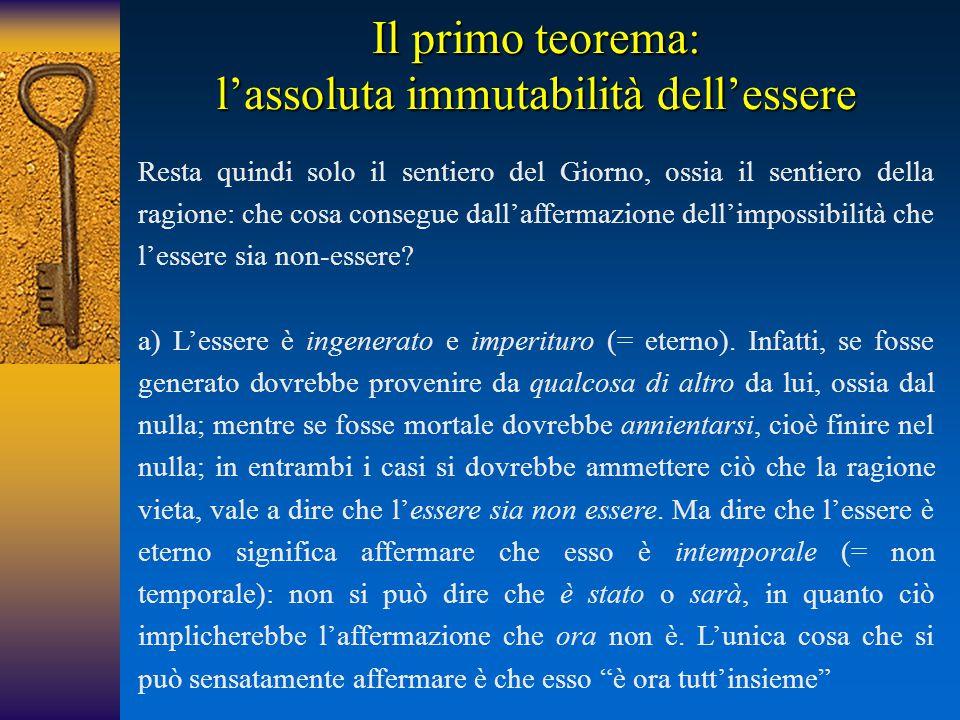 Il primo teorema: l'assoluta immutabilità dell'essere