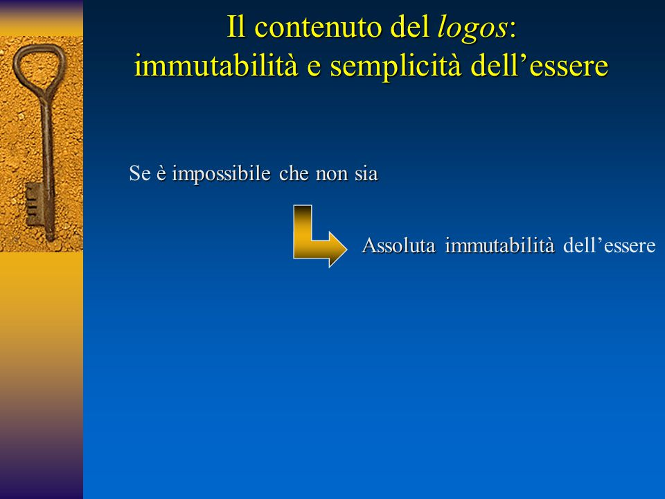 Il contenuto del logos: immutabilità e semplicità dell'essere