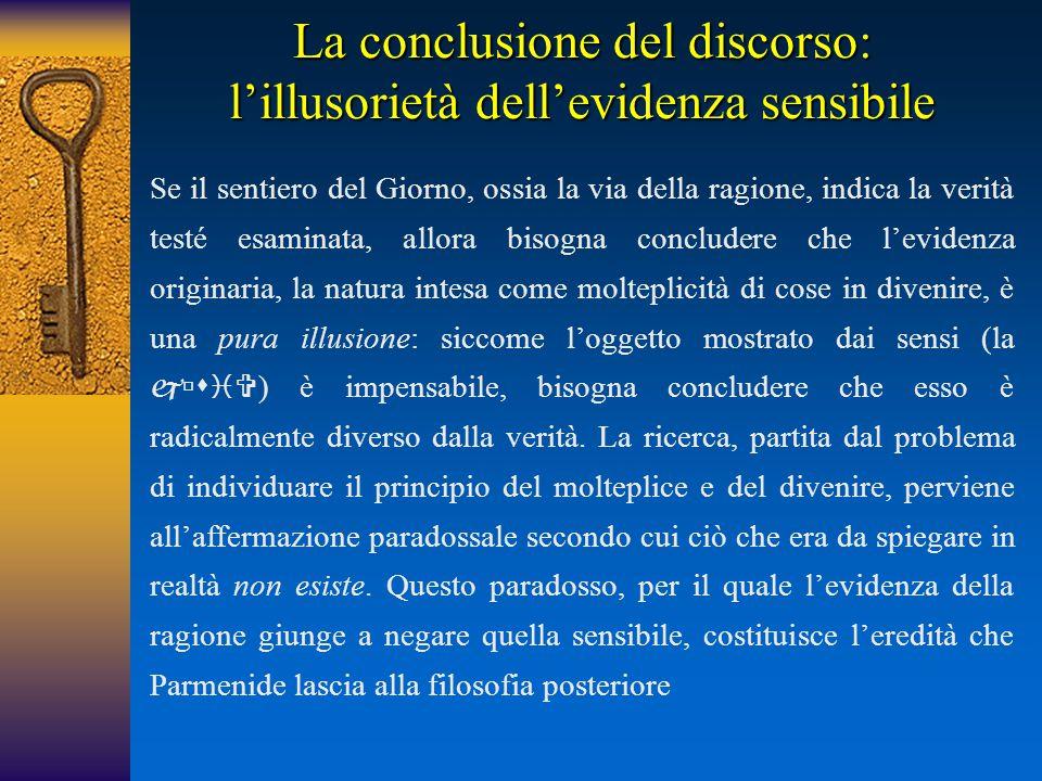 La conclusione del discorso: l'illusorietà dell'evidenza sensibile