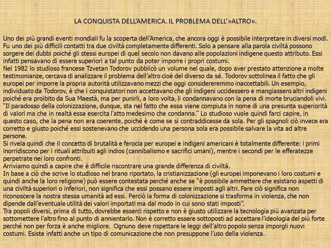 LA CONQUISTA DELL'AMERICA. IL PROBLEMA DELL'»ALTRO».