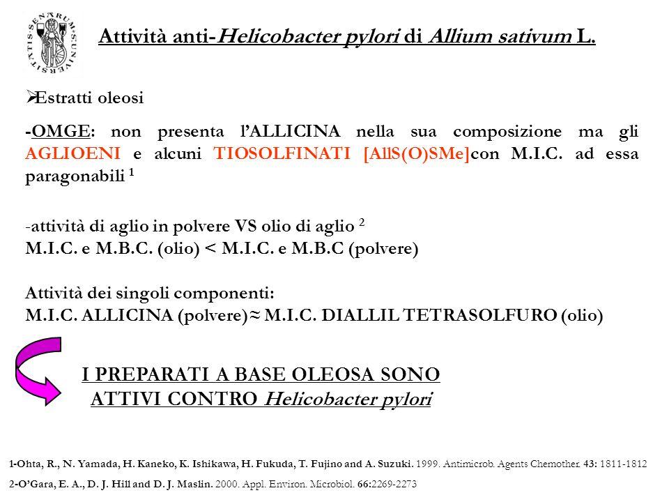 Attività anti-Helicobacter pylori di Allium sativum L.